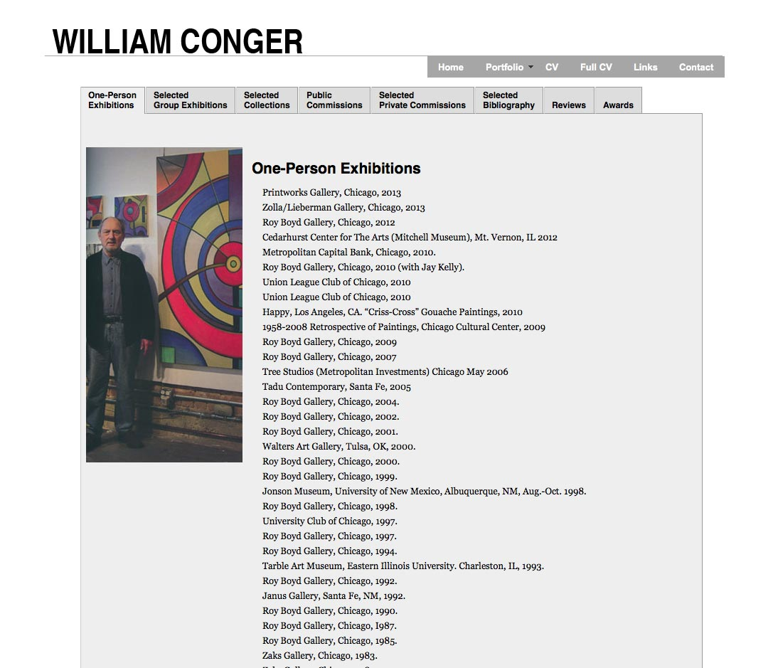 William Conger CV page